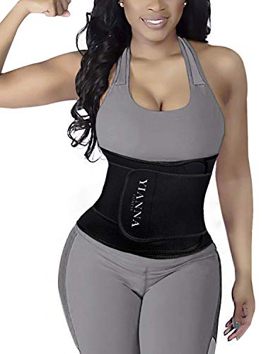YIANNA Women Waist Trainer Belt Waist Trimmer Slimming Belly Band Body Shaper Sports Girdles Workout Belt Tummy Control, YA8010-Black-S