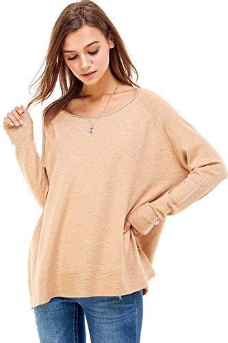 Alexander + David Women's Loose Fit Soft Pullover Long Sleeved Sweater with Raw Edge Neckline & Bottom Hem Detail (H.Camel, Small/Medium)