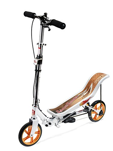 Space Scooter X580, Weiß, Tretroller mit Schwungrad, per Luftdruckdämpfer Angetriebener Roller mit Bremsen, Luftfederung, Einfache Faltbarkeit, für Kinder ab 8 Jahren