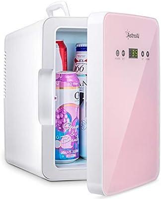 AstroAI Mini Fridge Refrigerador para el Cuidado de la Piel de 6 litros / 8 latas con Control de Temperatura Enfriador Termoeléctrico Portátil AC / 12V DC y Calentador para Dormitorio Cosméticos Medicamentos Leche Materna (ROSA)