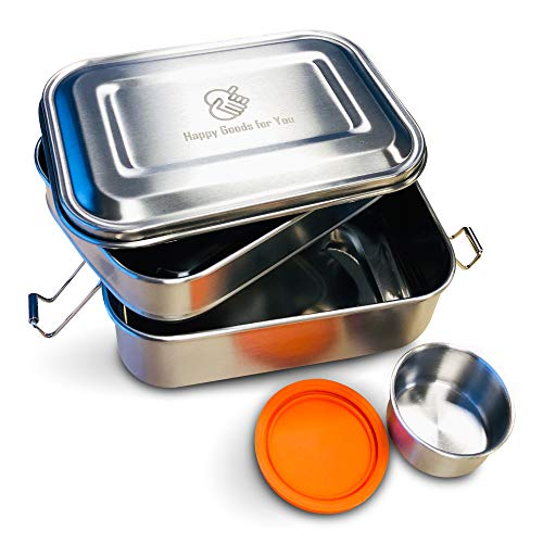 Happy Goods 3-in-1 Brotdose aus Edelstahl - ideal für Kinder - Hochwertiger Schnappverschluss - Umweltfreundlich und BPA- & Plastikfrei (1350ML)