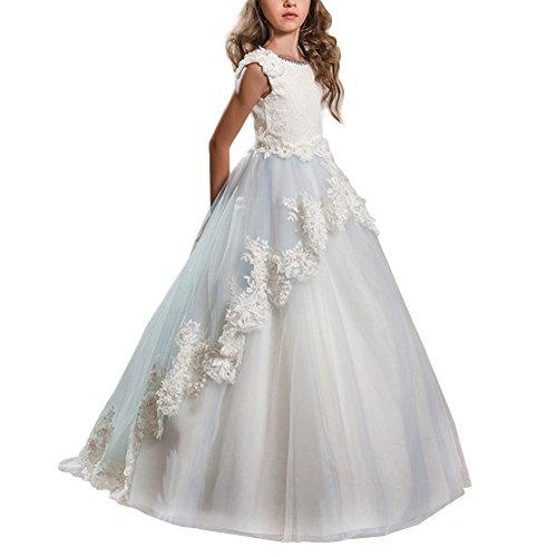 IBTOM CASTLE Vestido de niña de Flores para la Boda Niñas Niños Largo Gala Encaje De Ceremonia Fiesta Elegantes Comunión Paseo Baile Pageant #12 Blanco + Azul 4-5 años