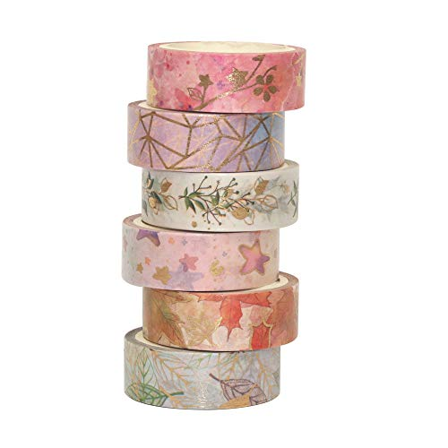 CIVONIA 6 Rollen Goldfolie Washi Tape - 15 mm breites Masking Tape für Kunst, Basteln, Aufzählungszeichen, Planer, Sammelalbum, Karte, Geschenkverpackung
