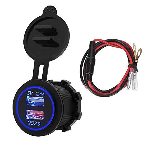 KIMISS Car USB Cargador, Impermeable Dual USB Car Teléfono móvil Cargador de Tableta Seguridad Carga rápida para QC 3.0(Azul)