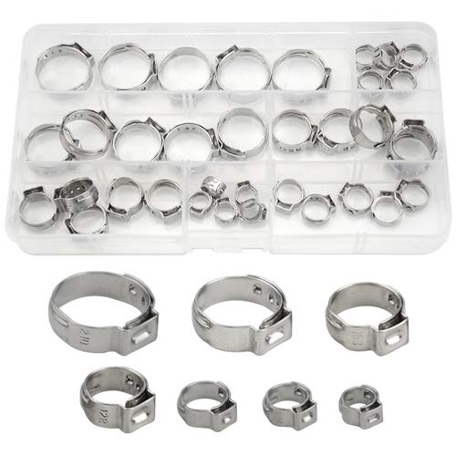 WMYCONGCONG 35 PCS 304 Stainless Steel Single Ear Hose Clamps Pinch Clamp Assortment Kit Cinch Rings Clamp Hose Tubing Pipes with Storage Box, for Securing Pipe Hoses and Automotive Use, 7-21mm