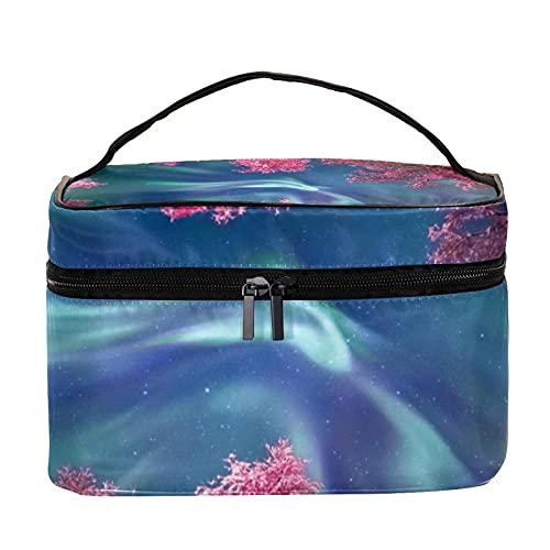 Bolsa de maquillaje portátil para viaje, bolsa de cosméticos, organizador de artículos de tocador para mujeres y niñas, hojas rosas