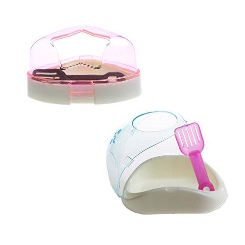 emours Pequeño Animal Plástico Hamster Baño Baño Arena Habitación Sauna Inodoro bañera, 2Pack, color puede varía