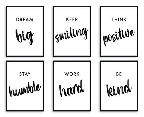 L & O Goods Inspirierende Wanddekoration für Büro, Wohnzimmer, Zuhause, motivierende & positive Zitate & Sprüche | Schwarz & Weiß | Sechs 20,3 x 25,4 cm, ungerahmt