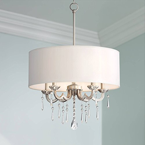 """Georgiana Brushed Nickel Pendant Chandelier 20 1/4"""" Wide Modern Clear Crystal Off White Drum Shade 5-Light Fixture Dining Room House Island Entryway Bedroom Living Room - Possini Euro Design"""
