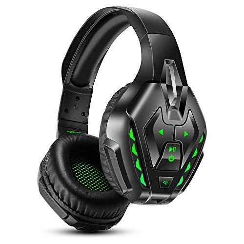 PHOINIKAS Headset PS4, Gaming Headset für Xbox One, PC, Wireless Bluetooth Headset mit 7.1 Bass Surround, Noise Cancelling-Mik Wired Kopfhörer für Spiele, LED Light, 40H-Spielzeit - Green
