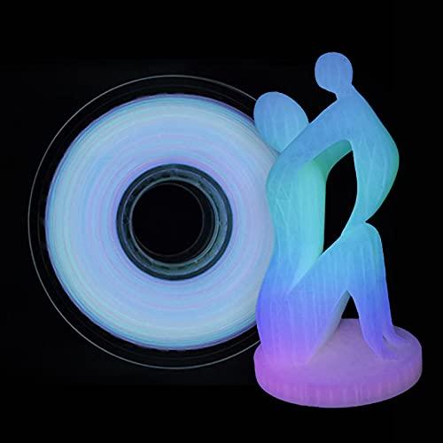 RYUNQ PLA - Filamento per stampante 3D in PLA da 1,75 mm, 1 kg (2,2 lbs) Glow in the Dark per stampanti 3D e penna 3D multicolore (Glow Regenbogen)