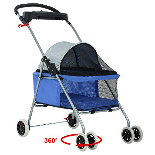 Pet Stroller 4 Wheels Posh Folding Waterproof Portable Travel Cat Dog Stroller with...