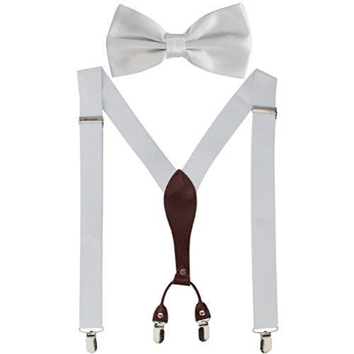 HBF Hosenträger|Y-formig elastische Länge |RückseiteVeredelt mit Lederapplikationen|mit den starken Clips|Playshoes und Halsschleife Fliege KIT |für Damen und Herren (weiß)