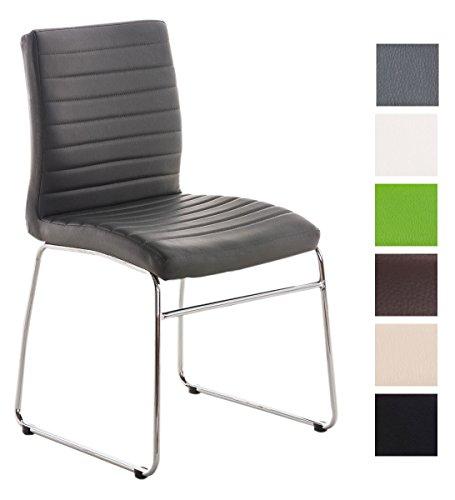 Esszimmerstuhl Lea Kunstleder | Küchenstuhl Mit Polsterung | Sitzhöhe: 47 cm | In Vielen Farben, Farbe:grau