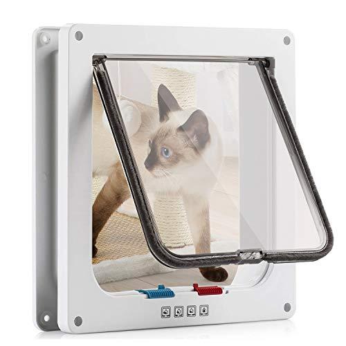 Katzenklappe Hundeklappe 23.5*25*5.5cm 4 Wege Magnet-Verschluss für Katzen und kleine Hunde - Hundetür Katzentür Haustierklappe ( Weiß L )