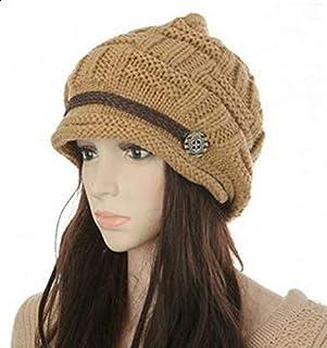 غطاء راس للنساء بتصميم قبعة شتوية باعثة على الدافئ فضفاضة بحياكة سميكة، طاقية وقبعة تزلج كروشيه GH3132 كاكي