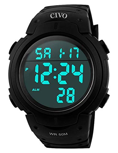 CIVO Reloj deportivo informal para hombr, multifuncional, militar, Resistente al agua, dise&ntilde, LCD Back Light Relojes de pulsera electrónica, Negro