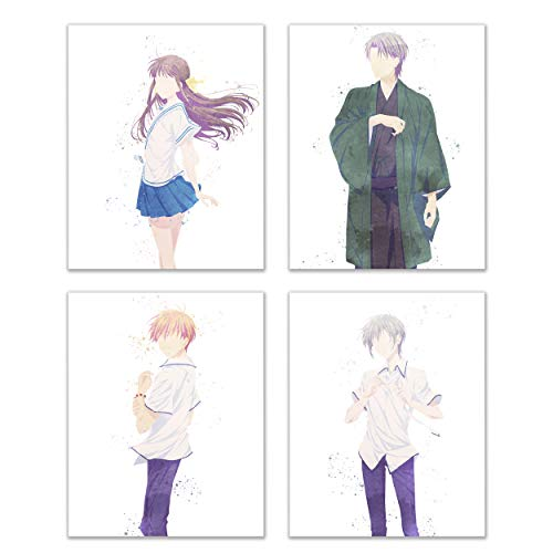 Watercolor Fruits Basket Prints - Set of 4 (8x10 Inches) Shoujo Remake Anime Manga Chinese Zodiac Wall Art Decor - Tooru Honda - Kyou Souma - Yuki Souma - Shigure Souma