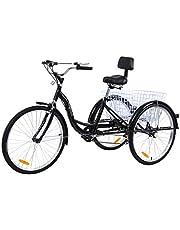 MuGuang Rower trójkołowy dla dorosłych 66 cm 7 prędkości 3 koła rower trójkołowy z koszykiem (czarny)