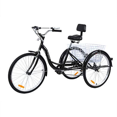 MuGuang Triciclo para Adultos 26 Pulgadas 7 Velocidades 3 Ruedas Bicicleta Triciclo con Cesta (Negro)