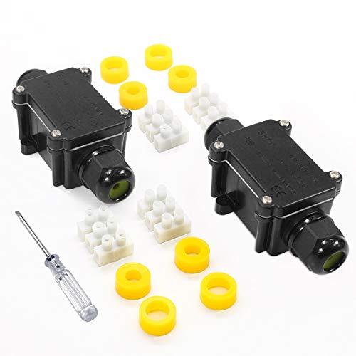 Angda IP68 Wasserdicht Outdoor Junction Box mit Kabel Drüse Kunststoff Elektrisch Wire Connector Abzweigdose für 4-12 mm Durchmesser Kabel (2 Stück)