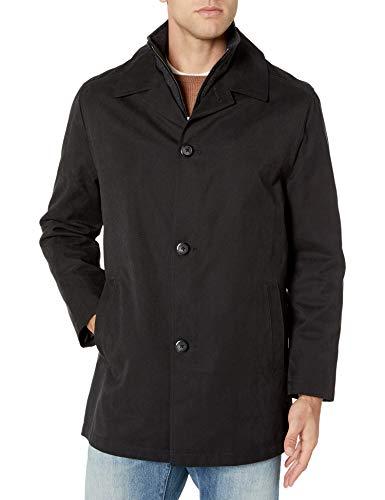 LONDON FOG Men's Berne Micro Twill All Weather Coat, Black, Large