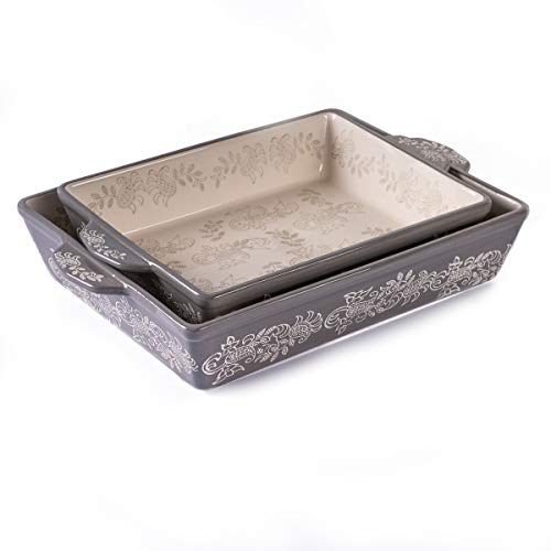 "Oven to Table Casserole Dish Set - 100% Stoneware Ceramic Baking Dishes for Cooking & Serving, Lasagna Pan Bakeware is Dishwasher & Microwave Safe - 13"" x 10.5"" & 11"" x 9"" Cookware Pans"