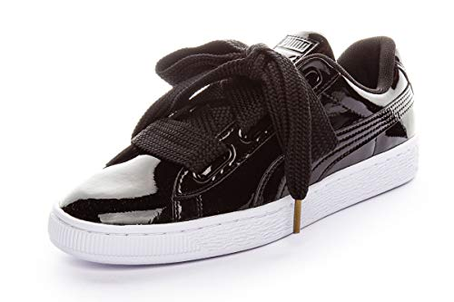 Puma Basket Heart Patent Low-Top Sneaker, Schwarz