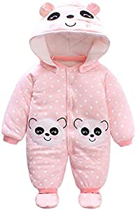 Bebé Niñas Traje de Nieve Set Peleles con Capucha Footies Conjunto de Ropa Invierno Muchachos Caricatura Mameluco, Panda 3-6 Meses