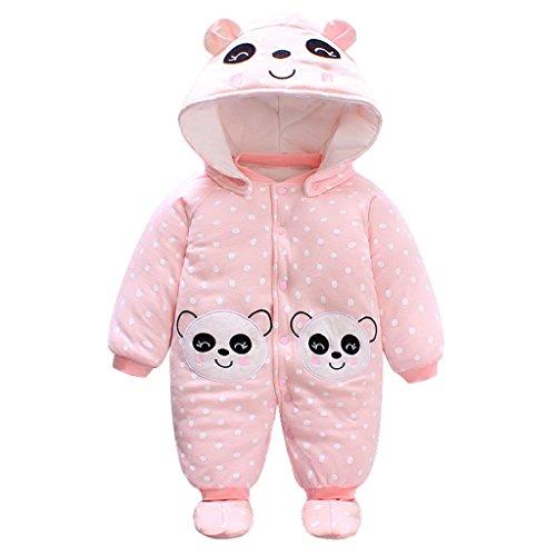 Baby Mädchen Overall Mit Kapuze Footies Strampler Schneeanzüge Karikatur Jumpsuit Winter Kleidungsset, Panda 3-6 Monate