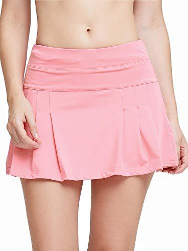 siyecaoo Falda Pantalón Deportiva de Tenis para Mujer Cintura Alta Falda para Correr Secado rápido Yoga Corto con Bolsillos Niñas Faldas Blush XXS