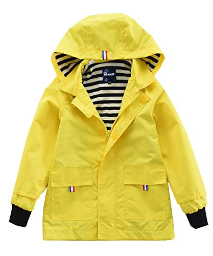 Hiheart Boys Waterproof Hooded Jackets Cotton Lined Rain Jackets (3T, Yellow)