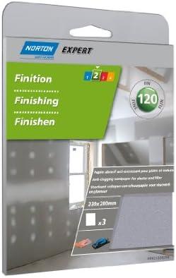 Norton Lot de 3 Feuilles 230 x 280 mm papier anti-encrassant Grain 120