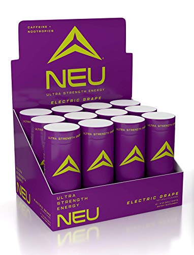 NEU Extra Strength Nootropic Energy Shots, Energy Drink: Brain Booster Focus Supplement, Coffee Alternative Nutritional Drink + Keto Energy Pre Workout with Zero Sugar, Electric Grape 2oz (12 Shots)