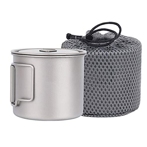 Iycorish Copa de titanio 550 ml ultraligero portátil olla de titanio taza de agua para acampar al aire libre senderismo mochilero