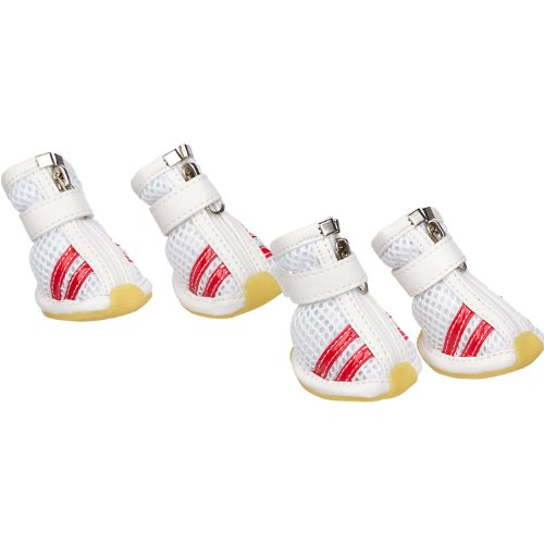 PET LIFE 'Air-Mesh' Flexible Lightweight Sporty Fashion Breathable Pet Dog Shoes Sneakers Booties Boots w/ Rubberized Grips, Large, White & Red