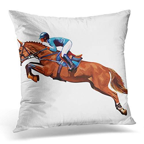 Awowee Funda de cojín de 45 x 45 cm, para montar en caballo, campeón de caballo, equitación, equitación, equitación, saltar, decoración del hogar, funda de cojín para sofá o silla, poliéster, Rosa, 16'x 16'