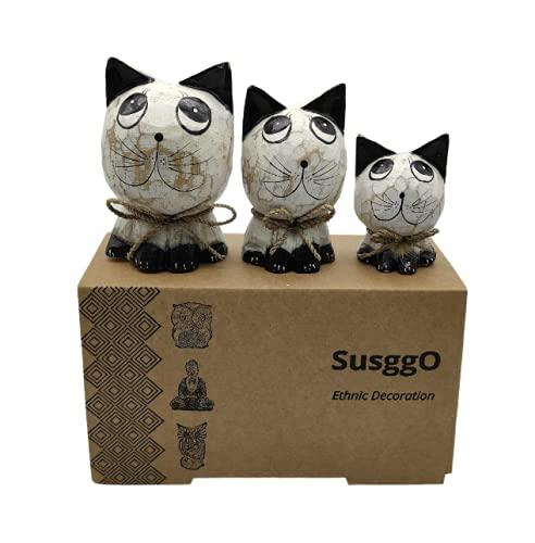 SusggO Set de 3 Gatos de Madera. Hechos a Mano Artesania Figuras Gatos Decorativos Decoracion Tallado a Mano Gato de la Suerte Adorno Mueble (Blanco DECAPADO Detalles Negros GBN)