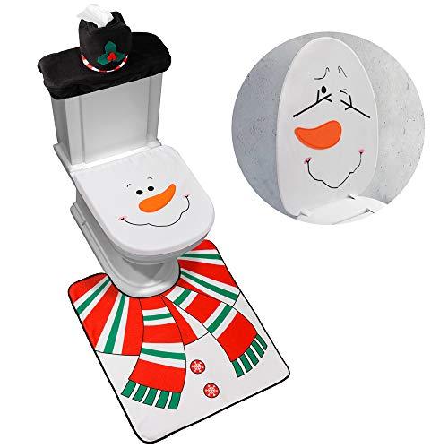 D-FantiX 4-Piece Snowman Santa Toilet Seat Cover and Rug Set Red Christmas Decorations Bathroom
