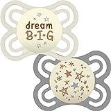 MAM Perfect Night Beruhigungssauger 0+ Monate (2 Stück) Dünner und weicher Babyschnuller mit selbststerilisierendem Reiseetui für Neugeborene, weiß/grau (Designs können variieren)