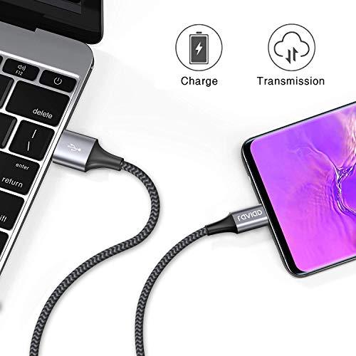 RAVIAD USB Typ C Kabel, [2Stück 0.5M] Nylon Type C Ladekabel Fast Charge Sync USB C Schnellladekabel für Samsung Galaxy S10/ S9/ S8 Plus Note 9 8, Huawei P20 P10, Google Pixel, Sony Xperia XZ
