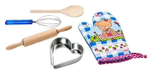 Heless 132 - bakset voor kinderen met garde, ovenhandschoen, houten lepel, pastahout en beekvorm of mengkom, 5-delig, gesorteerd