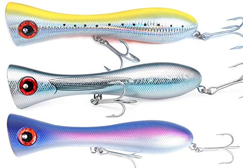 Dr.Fish Saltwater Popper Set 8' Fishing Topwater Lures Plug Assortment Striped Bass Tuna Shark 4.58 OZ
