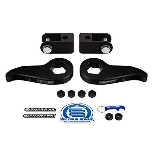 Supreme Suspensions - Front Leveling Kit for Chevy Silverado Sierra 2500HD 3500HD Adjustable 1 to 3 Inch Front Suspension Lift Torsion Keys + Shock Extenders 4WD 4x4 (Easy Install)