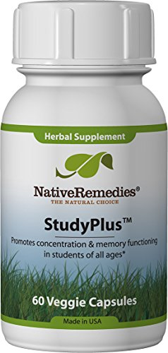 Native Remedies StudyPlus - All Natural Herbal Supplement Promotes Concentration and Memory Function in Students of All Ages - 60 Veggie Caps