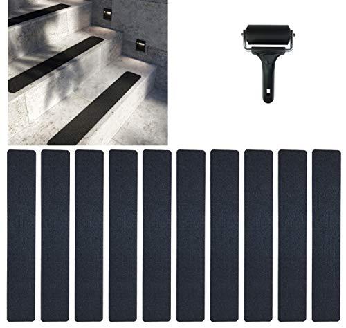 cocofy Anti-Rutsch Sticker für Treppen außen und innen XXL | 10x Streifen (90x15 cm groß) schwarz | Starker Halt dank Spezial-Outdoor-Oberfläche | Rutsch-Schutz für Treppenstufen | mit Montageroller