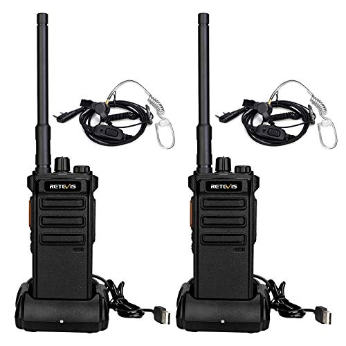 Retevis RB25 Walkie Talkie Digital, Radio Digital NBDR con Auriculares, 32 Canales 2500mAh Walkie-Talkie Digital/Analógico, Radio Portatil Larga Distancia para Seguridad, Hotel(Negro, 2 Piezas)