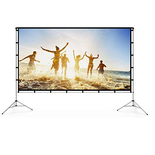 Vamvo Beamer Leinwände 120 Zoll, Outdoor Indoor Projektionswand mit Faltbarem Standfuß, Tragbare Filmleinwand 16: 9
