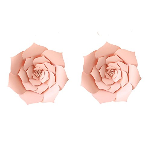 2pcs 12inch Pink Party Paper Flower Wedding Paper Backdrop DIY Handemade Flower Wall Backdrop Decoration Rose Paper Flower for Nursey Birthday Home Decor (2pcs, Lt-Pink)