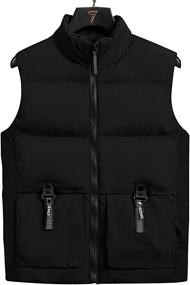 WX-ICZY Fall/Winter Stand-Collar Men's Vest, Casual Cotton Multi-Pocket Warmth Thick Sleeveless Jacket